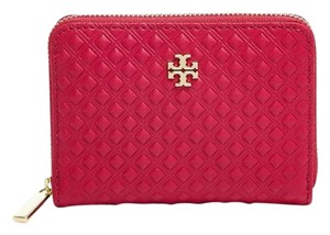Tory Burch NWT TORY BURCH MARION EMBOSSED PATENT LEATHER COIN CASE KEYRING WALLET GOJI BERRY RED