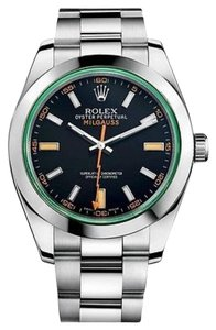 Rolex Rolex New Style Pre Owned Milgauss Steel Black Dial Green Crystal 40mm