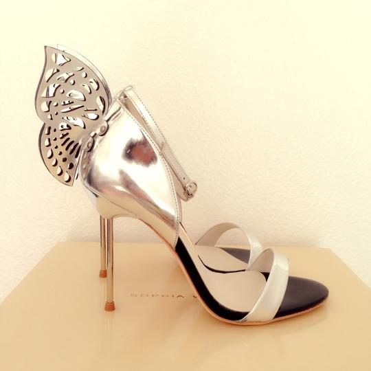 Sophia Webster Embellished Patent Leather Silver Sandals