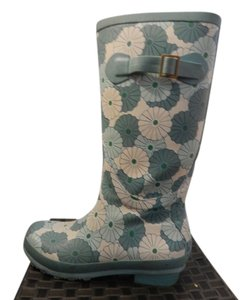 L.L.Bean Blue and Green Floral Boots
