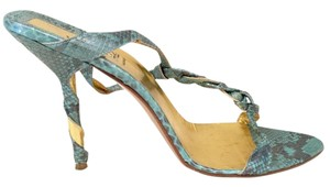 Versace Gianni Snakeskin Leather Turquoise/Gold Sandals