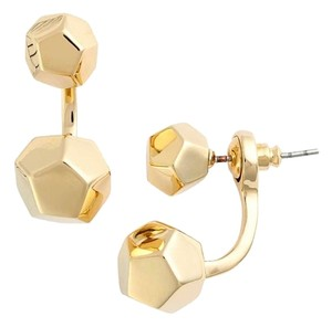 Rebecca Minkoff NEW RM Cube Drop Front Back Earrings, Geometric, Gold, 530786RM