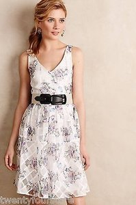 Maeve short dress White Anthropologie Peony Garden Floral Fit Flare on Tradesy