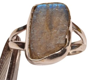 ROUGH LABRADORITE GEMSTONE 925 STERLING SILVER RING SZ 6.5