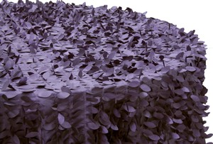 Plum 120 Inch Round Leaf Taffeta Tablecloths