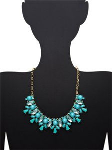 Leslie Danzis Leslie Danzis Turquoise 14K Gold Plated Crystal Statement Necklace NWT 105.00