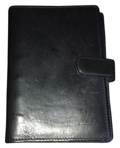 Louis Vuitton Authentic LOUIS VUITTON Black Nomade Leather Agenda PM
