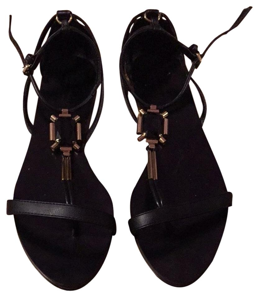 cc7988fe897 Zara Black and Gold Jewel Strappy Leather Sandals Size US 7 Regular ...