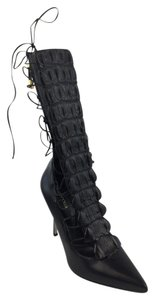 Sergio Rossi Croc Strappy Boots Laced Boots Black Sandals