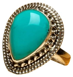 TURQUOISE GEMSTONE 925 STERLING SILVER TEARDROP RING SZ 6.25