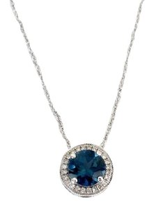 Macy's Blue Topaz, Diamonds and White Gold Pendant with 14K White Gold Necklace