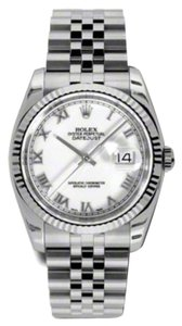 Rolex Rolex Datejust White Roman Dial 18K White Gold Fluted Bezel Jubilee Bracelet Men's Watch