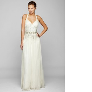Mignon Ivory Chiffon Sleeveless with Embellishments Feminine Wedding Dress Size 6 (S)