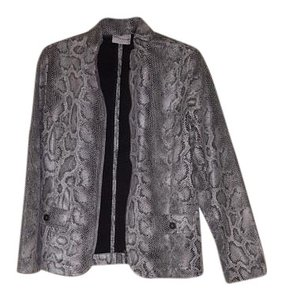 Alfred Dunner Grey Leather Jacket
