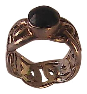 Vintage Sterling Silver Onyx Braided ring size 5