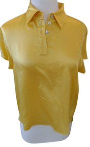Express Front Buttons Cap Sleeves 100% Silk Straight Bottom Small Side Slits Top Yellow