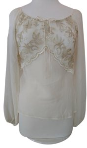 The Limited Sheer 100% Silk & Drawstring Neckline Long Sleeves Top Ivory with Gold Embroidered Lace