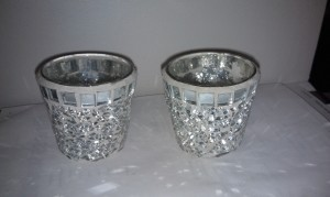 Stained Glass Silver and White Votive Holders Candles Reception Decoration