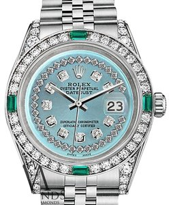 Rolex Diamond Rolex Datejust 36mm Steel Ice Blue String Emerald Diamond Dial Watch
