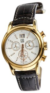ESQ * ESQ Chronograph Gold Tone Leather Watch