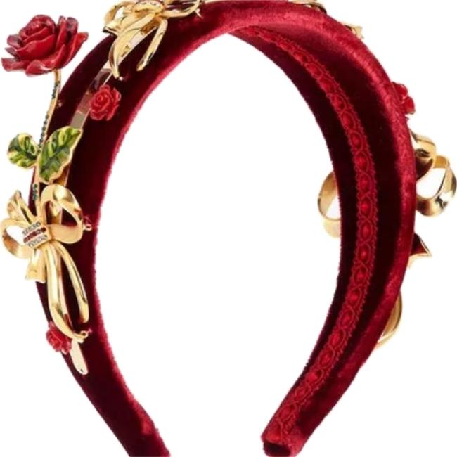Item - Red/Gold Dolce and Gabbana Embelished Velvet Headband Hair Accessory
