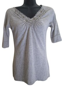 Daytrip Beaded Lace Knit Top Grey