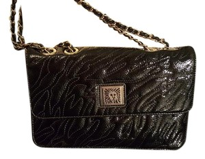 Anne Klein Patent Leather Gold Hardware Chain Animal Print black Clutch