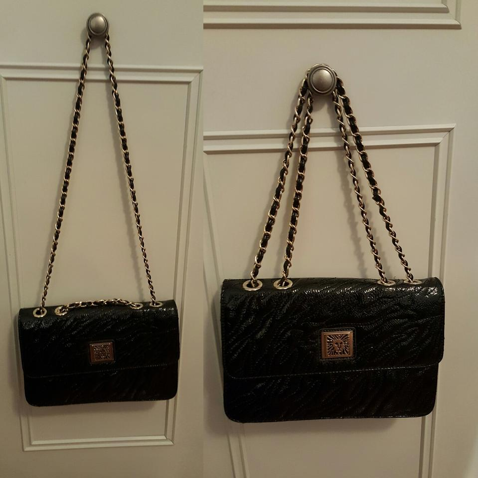 Anne Klein Patent Leather With Gold Chain Strap Black Clutch ...