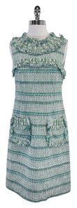 Tory Burch short dress Green White Tweed Fringe on Tradesy