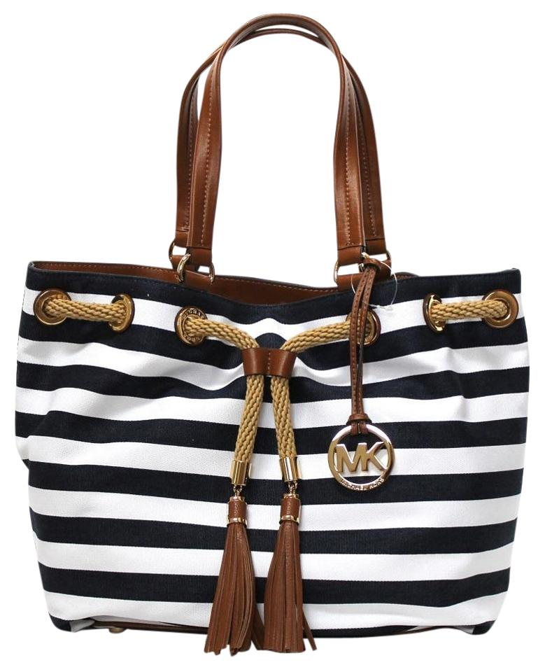 30640e179d4b Michael Kors Marina Canvas & Stripe Gold Hardware Dual Leather Handles Tote  in Navy/White ...