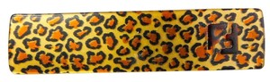 Fendi FENDI Gold tone and Leopard Print HAIR CLIP
