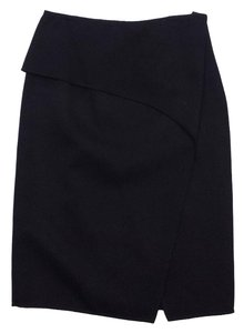 Carolina Herrera Black Wool Folded Midi Skirt