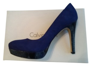Calvin Klein Suede Snakeskin Patent Leather Date Night Night Out Cobalt Blue Platforms