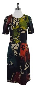 Etro Multi Color Earth Tone Print Short Sleeve Dress