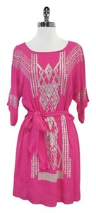 Yoana Baraschi Hot Pink Champagne Sequin Print Dress