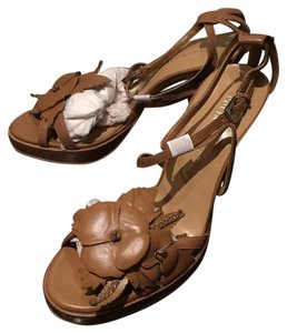 Colin Stuart Flowers Adorned Stiletto Tan Platforms