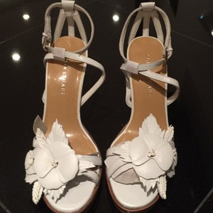 Colin Stuart Flower Adorned Stiletto Night Out Caged Heel White Platforms