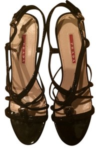 Prada Wedge Patent Leather Strappy Black Wedges
