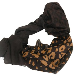 Gucci Brown Leopard Print Guccissima Interlocking GG Scarf