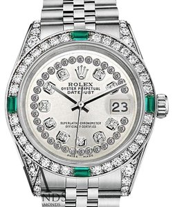 Rolex Women's Rolex Datejust 31mm Stainless Steel Silver String Emerald Diamond Watch