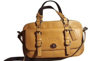 Coach Classic Leather Satchel in camel tan