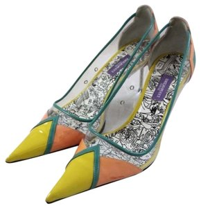 Emilio Pucci Pointed Toe Retro Patent Pvc Multi Pumps