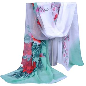 Fashion Green & White Chiffon Scarf (#3)