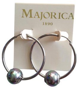 Majorica Silver hoops with tahitian pearls