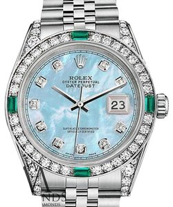 Rolex Ladies Rolex 26mm Stainless Steel Baby Blue MOP Emerald Diamond Watch