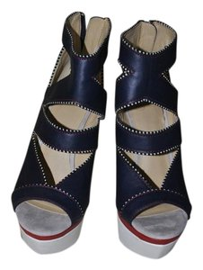 GX by Gwen Stefani Wedge Comfortable Versatile Blue, Red and White Wedges