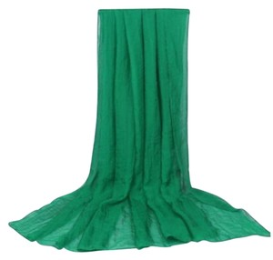 Other Fashion Solid Green Crinkle Scarf (#4)