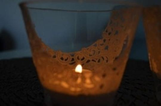 White Tea Lights / Filigree/ Lace