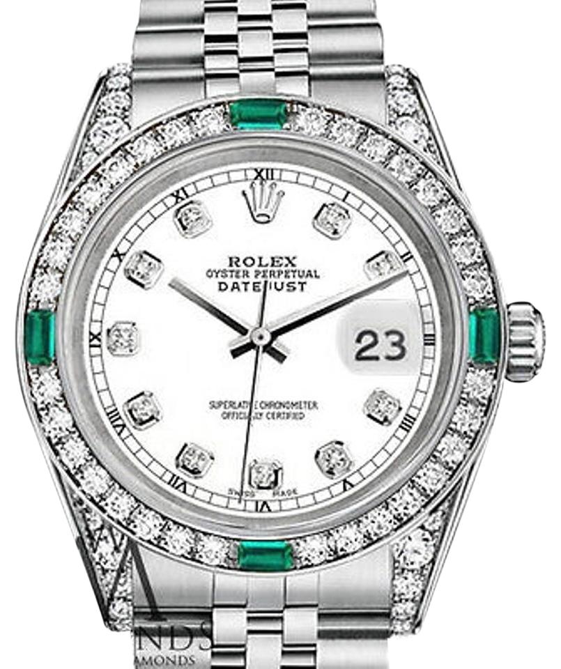 Rolex Women s Rolex Datejust 31mm Stainless Steel Emerald Diamond Watch ... b2dc998635