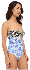 Saha SAHA Levant Twisted Strapless One Piece Light Blue Floral/Black/White Size MD
